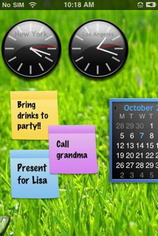 iPhone widgets have calendar and clocks
