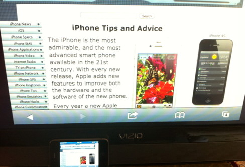 iPhone 4S airplay mirror running Safari