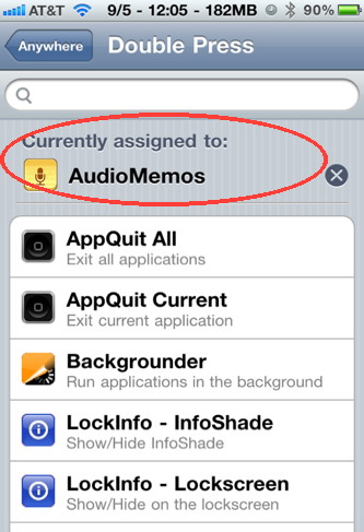 Use Activator iPhone hack to start Audio Memo with a press of a button