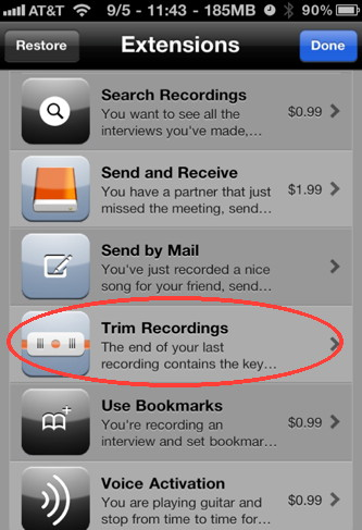 Audio Memo is an iPhone audio recorder  with several extensions