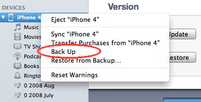 iPhone back up using iTunes