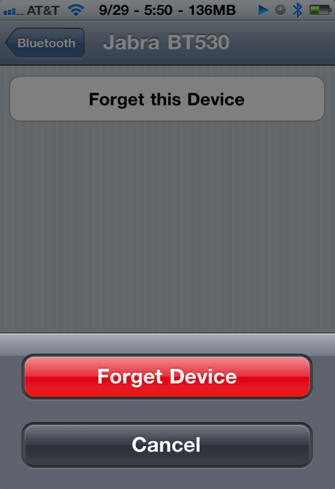 Disconnect Bluetooth iPhone device
