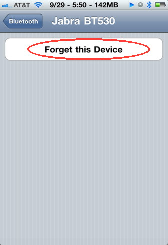 Forget device in iPhone bluetooth settings