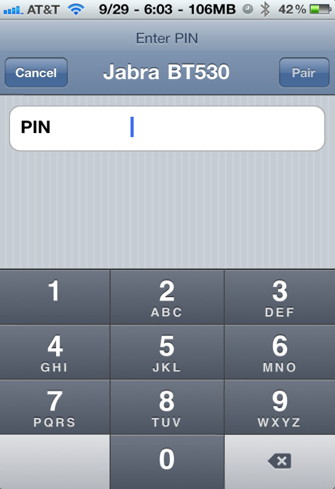 Enter iPhone bluetooth pin in bluetooth setting screen