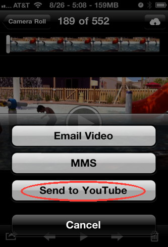 iPhone camera sharing video on YouTube