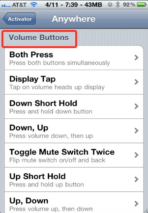 iPhone customization of the volume buttons