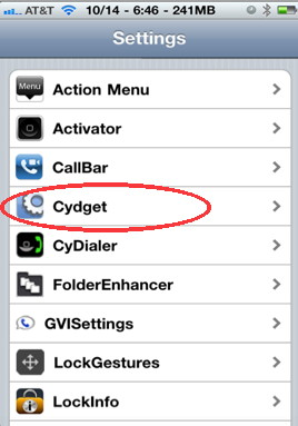 Setting up cydgets