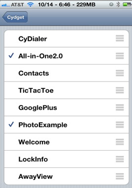 Find all cydgets installed in settings