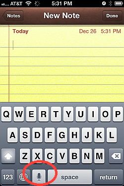iPhone keyboard dictation with Siri on iPhone 4S
