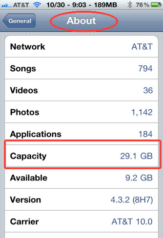 iPhone memory capacity can be found in Settings, General, About