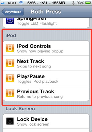 iphone song control from Activator