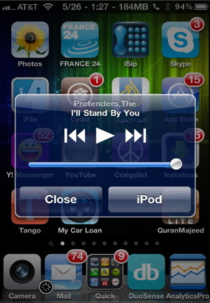 iphone music control from Home screen