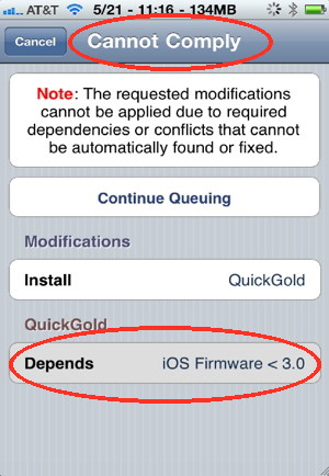 If the iPhone hack is incompatible, you will see an iPhone problem screen with dependancies
