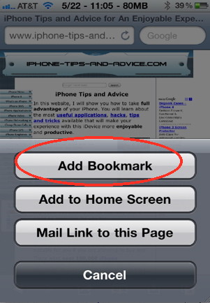 iPhone question: how to add a safari bookmark