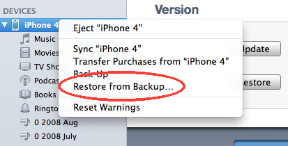 iPhone restore from backup with iTunes