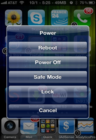 Reboot your iPhone with SBSettings
