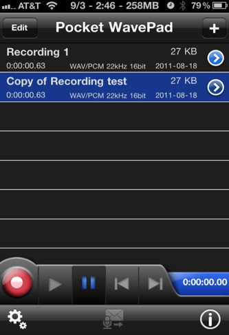 iPhone sound recorder and editor
