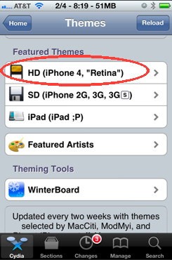 iPhone themes categories in Cydia