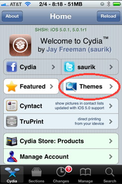 iPhone themes in Cydia