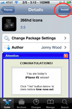 iPhone themes install in Cydia