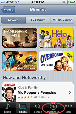Play videos on your iPhone using the iTunes video store
