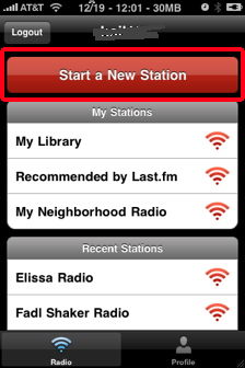 start a new station in last fm for iphone