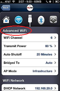 Mywi advanced settings for iPhone