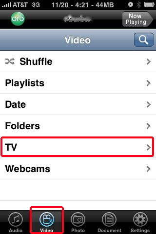 orblive video button, iPhone TV