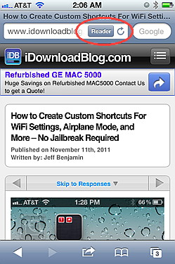Reader is an iOS 5 feature