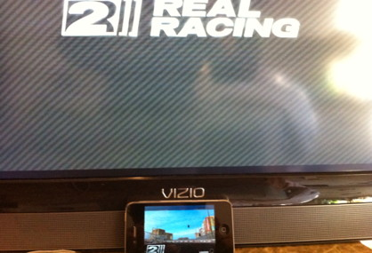 RealRacing 2 HD using AirPlay Mirror for iPhone 4S