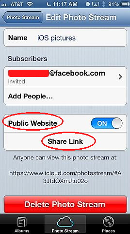 Share pictures with other users using sharing of iOS 6