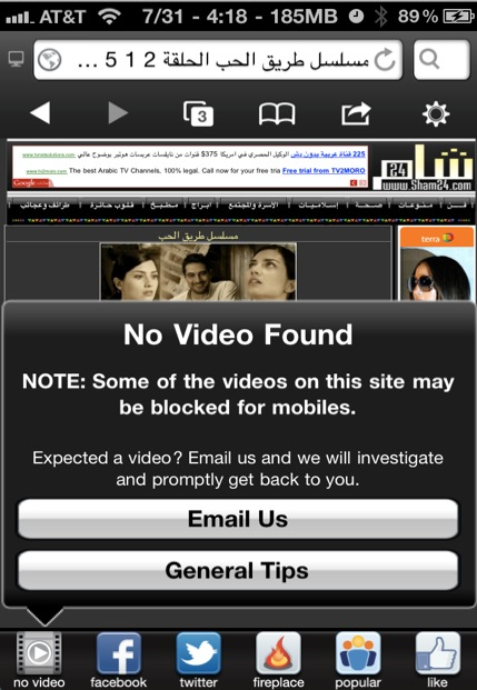 SkyFire iPhone flash video not supported