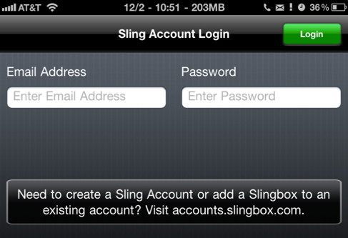 Sling account login on iPhone