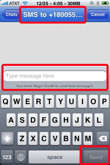 skype-out-sms-message on the iPhone