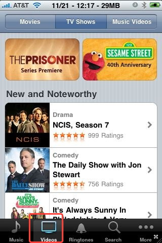 TV on iPhone with the iTunes application
