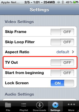 Oplayer has extensive setting menu for video to iphone play back