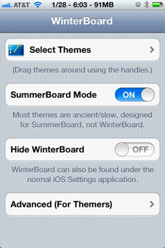 WinterBoard for iPhone themes display