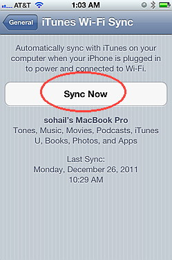 Sync wirelessly with iOS 5