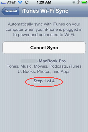 Wireless sync with  using iPhone 4S running iOS 5