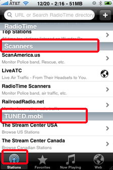wunderradio scanners and tuned.mobi iphone
