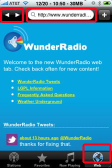 wunder radio web browser links iphone