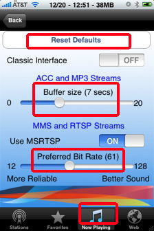 wunder radio settings for iphone