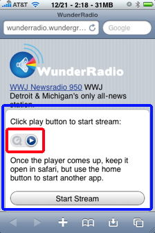 play in back ground with wunder radio for iphone