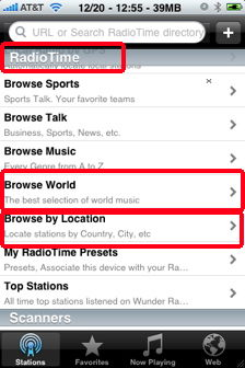 wunder radio iphone browse world