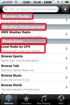 wunder radio categories