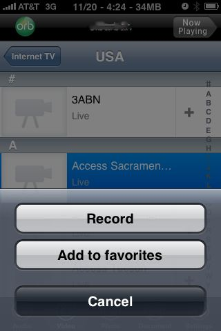 orblive record, iPhone TV